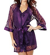 Dreamgirl Stretch Lace Robe With Charmeuse Babydoll 9105