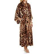 Natori Leopard Printed Silky Charmeuse Long Robe B74043